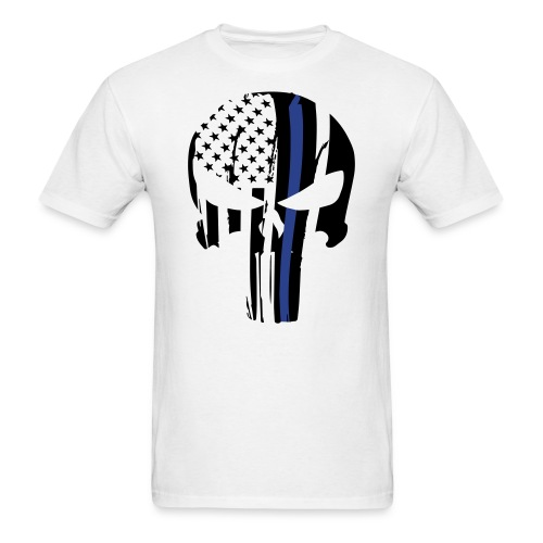 Merica Skull Thin Blue Line Edition - Men's T-Shirt