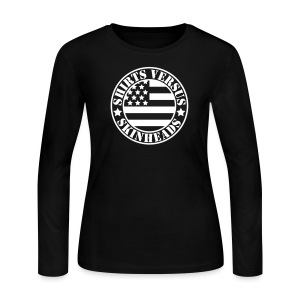 SVS Flag Logo - Curvy Fit Long-Sleeved T-Shirt - Women's Long Sleeve Jersey T-Shirt