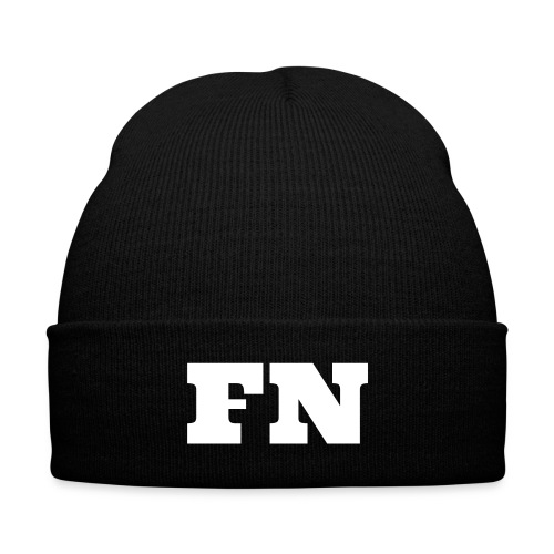 Flow Nation Beanie w/White Font - Knit Cap with Cuff Print