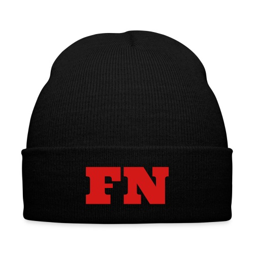 Flow Nation Beanie w/Red Font - Knit Cap with Cuff Print