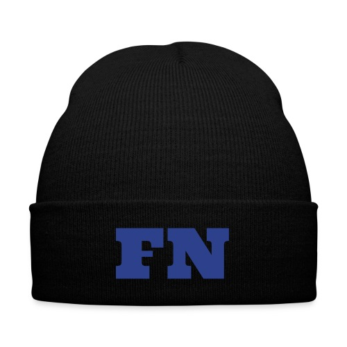 Flow Nation Beanie w/Blue Font - Knit Cap with Cuff Print