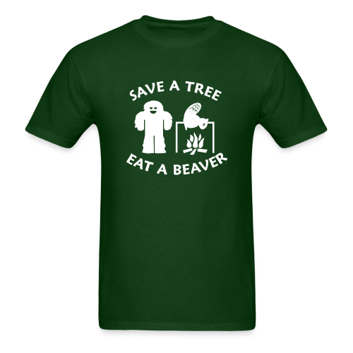 Sasquatch Bigfoot Save a Tree Eat a Beaver Camping Shirt - White Print - Men's T-Shirt