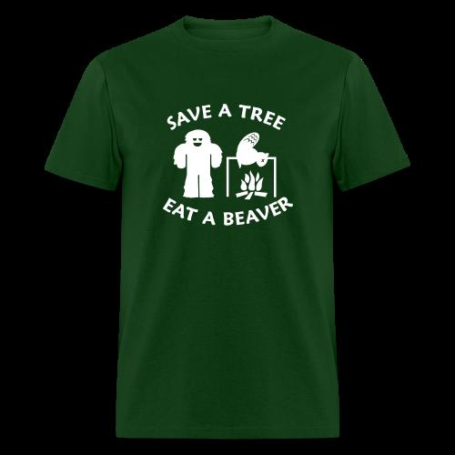 Sasquatch Bigfoot Save a Tree Eat a Beaver Camping Shirt - White Print - Men's T-Shirt
