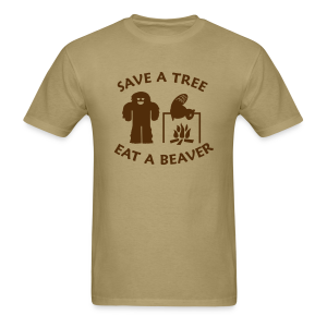 Sasquatch Bigfoot Save a Tree Eat a Beaver Camping Shirt - Brown Print - Men's T-Shirt