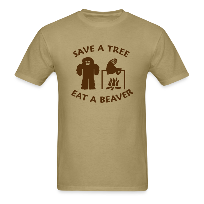 Sasquatch Bigfoot Save a Tree Eat a Beaver Camping Shirt - Brown Print