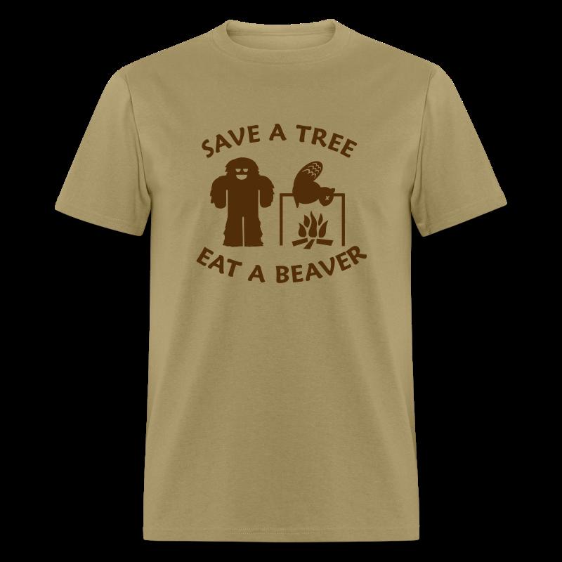 Sasquatch Bigfoot Save a Tree Eat a Beaver Camping Shirt - Brown Print - Men's T-Shirt