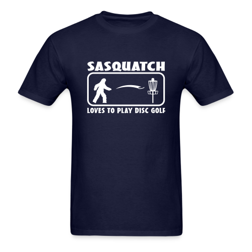 Sasquatch Loves to Play Disc Golf - Men's - White Print - Men's T-Shirt