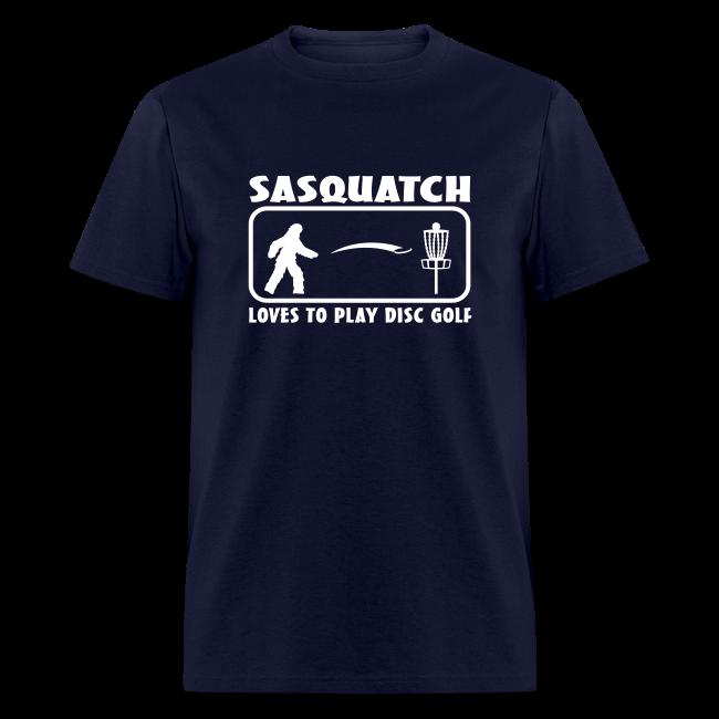 Sasquatch Loves to Play Disc Golf - Men's - White Print