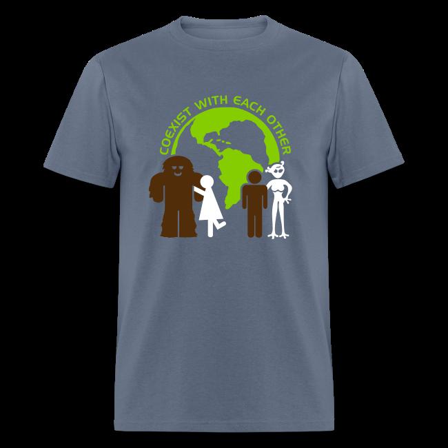 Sasquatch Human Alien World Peace Shirt - Men's Shirt