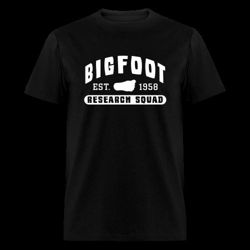 Bigfoot Research Squad - White Print (Front & Back) - Men's T-Shirt