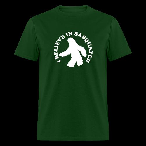 I Believe in Sasquatch / Bigfoot - Men's Shirt - White Print - Men's T-Shirt