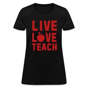Red GLITTER Live Love Teach - Women's T-Shirt
