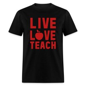 Red GLITTER Live Love Teach - Men's T-Shirt