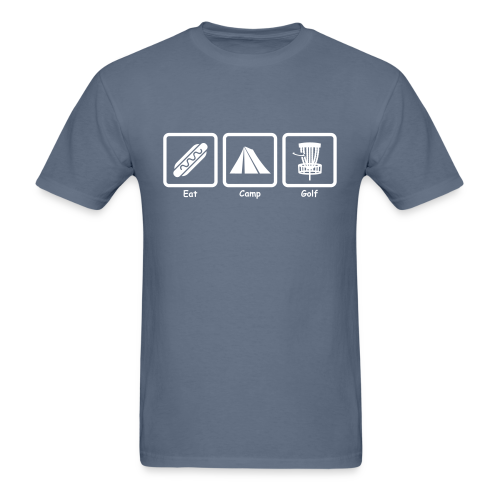 Eat, Camp, Play Disc Golf - Men's Shirt - White Print - Men's T-Shirt