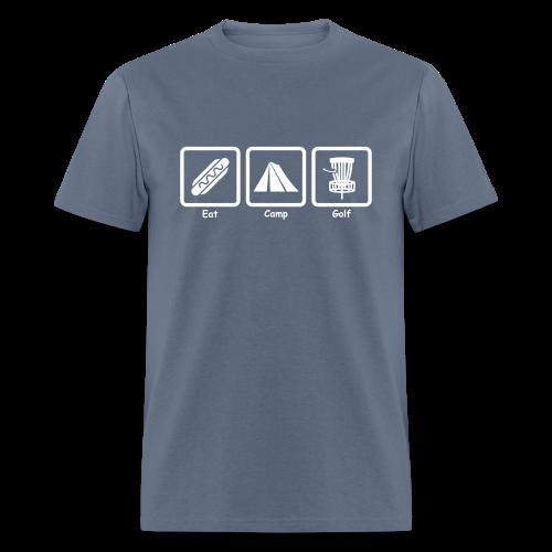 Eat, Camp, Play Disc Golf - Men's Shirt - White Print - Men's T-Shirt