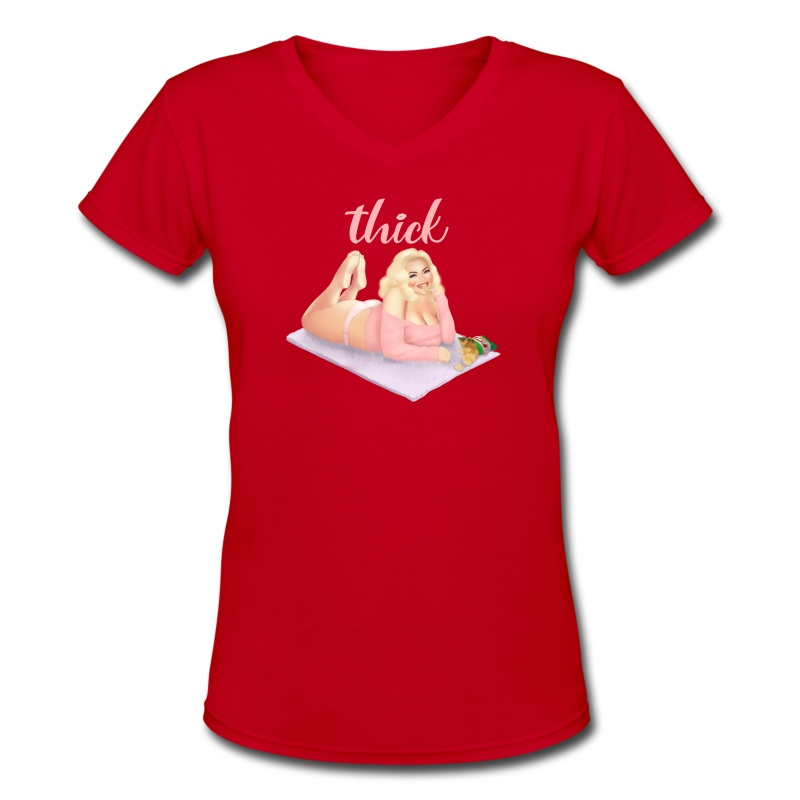 Trisha Thick.png - Women's V-Neck T-Shirt