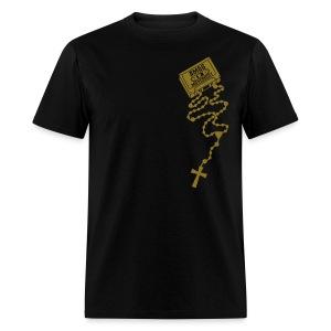 AMDG Rosary Cassette (Metallic Gold) - Men's T-Shirt