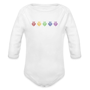 Furious Collective Rainbow Bee on White (Baby) - Long Sleeve Baby Bodysuit