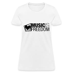Music Is Freedom T-Shirt - Womens White - Women's T-Shirt