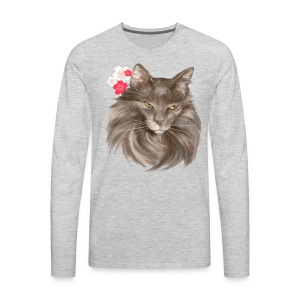 My Grey Lady and Cherry Blossoms - Men's Premium Long Sleeve T-Shirt