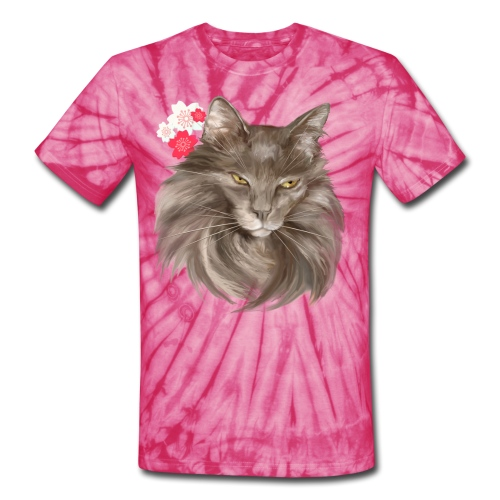 My Grey Lady and Cherry Blossoms - Unisex Tie Dye T-Shirt
