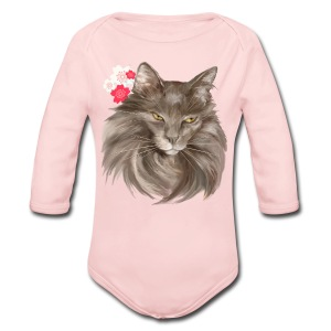 My Grey Lady and Cherry Blossoms - Long Sleeve Baby Bodysuit