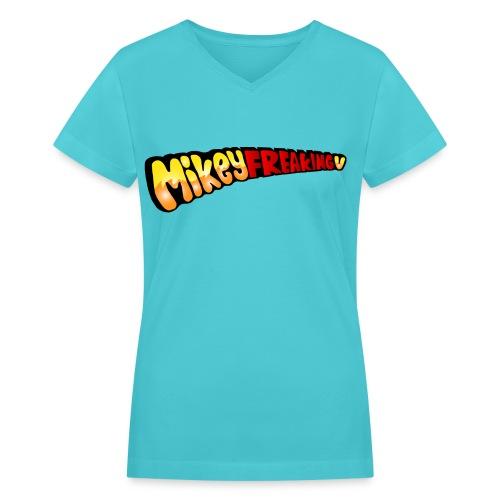 MikeyFREAKINGv V-Neck Tee - aqua - Women's V-Neck T-Shirt