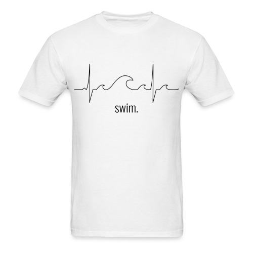 Swim Heartbeat - Black Design Tee - Men's T-Shirt