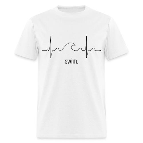 Swim Heartbeat - Black Design Tee - Men's T-Shirt