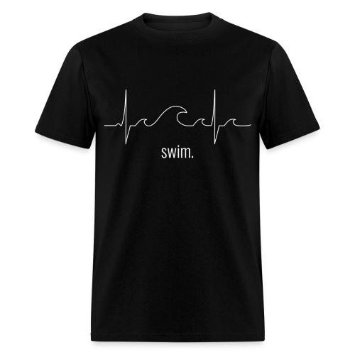 Swim Heartbeat - White Design Tee - Men's T-Shirt