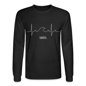 Swim Heartbeat - White Design Long Sleeve - Men's Long Sleeve T-Shirt
