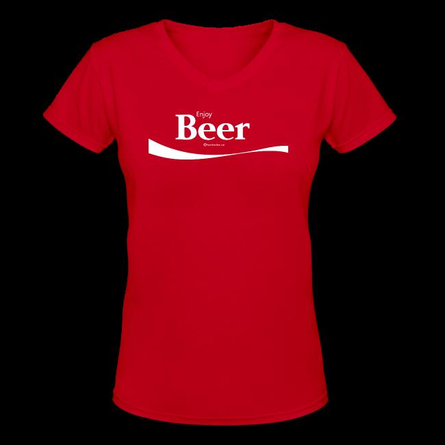 Enjoy Beer Women's V-Neck T-Shirt