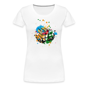 Rubik's Cube Colour Splatters - Women's Premium T-Shirt