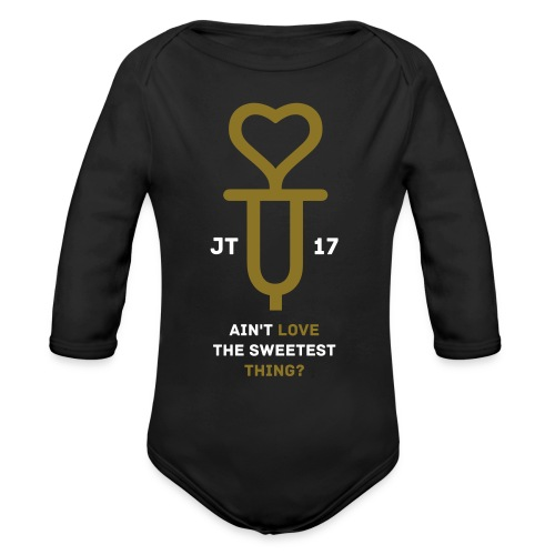 U+2=LOVE - front print gold/white - 6/18 months - multi colors - Organic Long Sleeve Baby Bodysuit