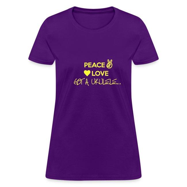 Ladies Peace Love Got A Ukulele shirt