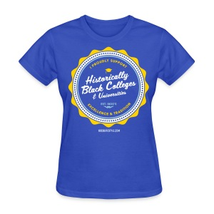 I Proudly Support HBCUs - Women's Gold, Powder Blue, White & Royal Blue T-shirt - Women's T-Shirt