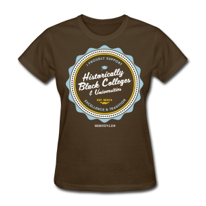 I Proudly Support HBCUs - Women's Powder Blue, White, Gold & Brown T-shirt - Women's T-Shirt