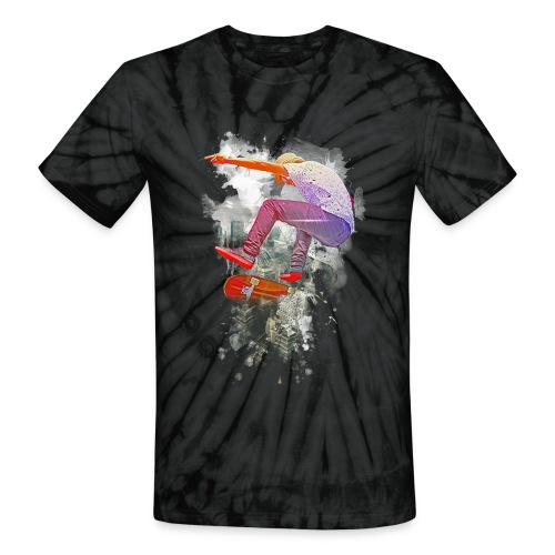 Skating over the city - Unisex Tie Dye T-Shirt