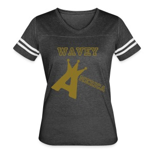 Wavey America Ladies Baseball Tee - Women's Vintage Sport T-Shirt