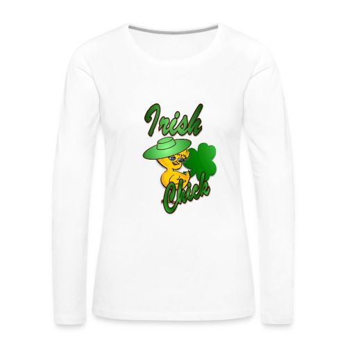 Irish Chick with Shamrock - Women's Premium Long Sleeve T-Shirt