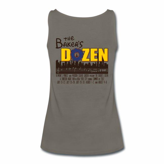 The Baker's D'OHzen Ladies' Tank Top (front lapel & back)