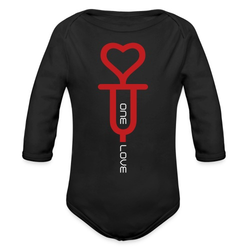 ONE LOVE - front print red/white velvet - 6/18 months - multi colors - Organic Long Sleeve Baby Bodysuit