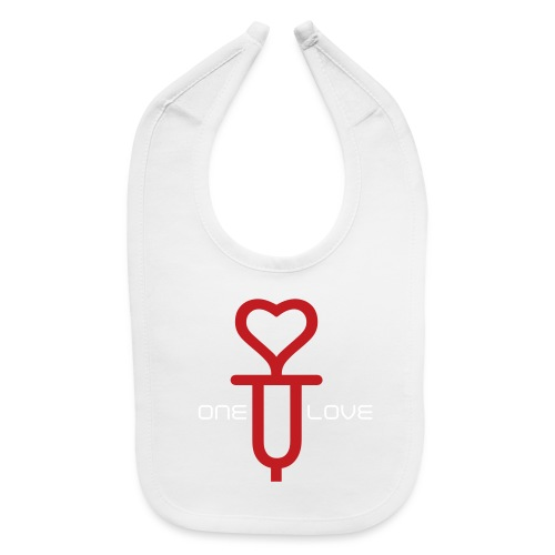 ONE LOVE - front print red/white velvet -one size - multi colors - Baby Bib