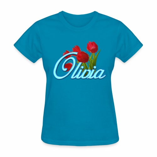 Olivia With Tulips - Women's T-Shirt