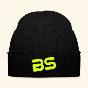 Knit Cap with Cuff Print, Black w/Neon Green Logo - Knit Cap with Cuff Print