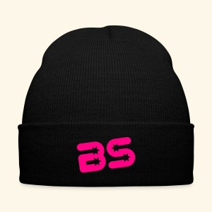 Knit Cap with Cuff Print, Black w/Neon Pink Logo - Knit Cap with Cuff Print