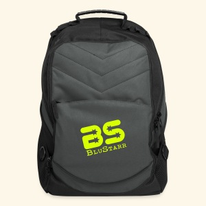 Computer/Track Backpack, Black/Grey w/Neon Green Logo - Computer Backpack