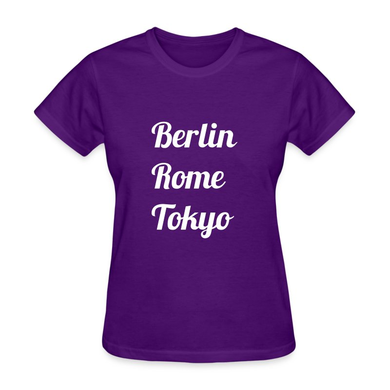 City T-Shirt: Berlin, Rome, Tokyo (Stylized text) - Women's - Women's T-Shirt