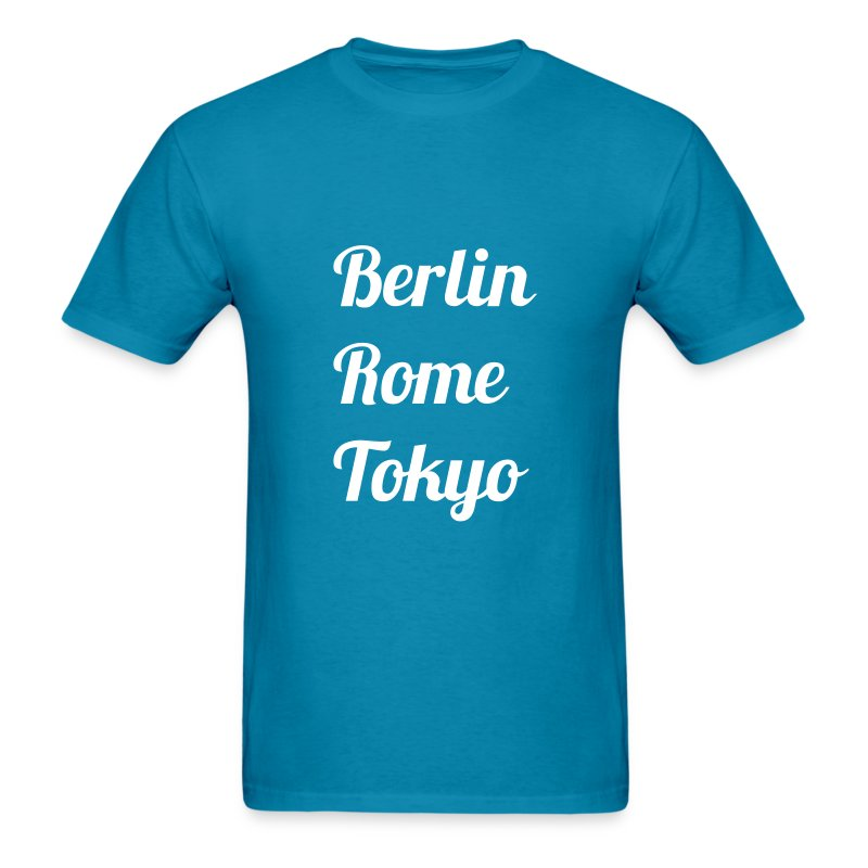 City T-Shirt: Berlin, Rome, Tokyo (Stylized text) - Men's T-Shirt