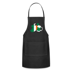 St Patricks Day, Irish Beer, Clover Aprons - Adjustable Apron